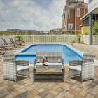 4pcs Outdoor Patio Rattan Furniture Set Cushioned Sofa With Table Lawn Garden Us