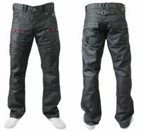 Brand New Mens Enzo Designer Black Jeans Straight Leg Casual Denim Pants Trouser