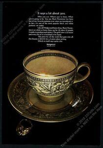 1969 Wedgwood Black Florentine bone china teacup saucer photo vintage print ad