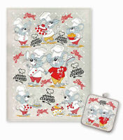 Cotton Linen Blend Kitchen Towel + Potholder Set MOUSE MICE Symbol of 2020