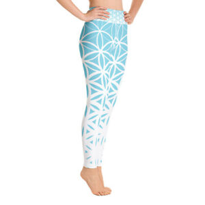 Sacred Geometry Yoga Pants Blue Flower of Life Leggings Yoga Leggins Blue Yoga