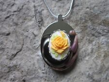 STAINLESS STEEL YELLOW ROSE CAMEO URN NECKLACE - MOURNING, ASHES, HAIR, TEXAS