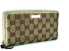 Auth GUCCI GG Beige Canvas & Ivory Leather Zip Around Bifold Long Wallet Purse