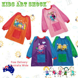 Kids Waterproof Art Smock long sleeve paint apron PEPPA FROZEN THOMAS 15 options