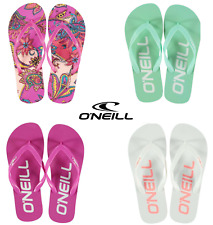NEW Ladies O'NEILL Branded Flip Flops Sizes 3-7 White/Pink/Orange/Green Girls