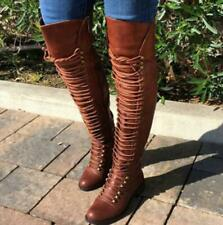 Womens Thigh High Punk Over The Knee Boots Lace Up Flat Low Heels Riding Shoes