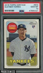 2018 Topps Heritage Gleyber Torres New York Yankees RC Rookie PSA 10