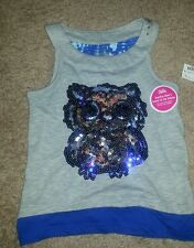 Girl's Justice embellished owl tank top Sz 5 NWT *MUST SEE*