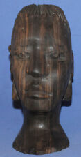 Vintage Woman Head Hand Carving Wood Statuette