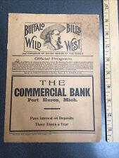 i918 Original 1908 Program Buffalo Bill Wild West Show Port Huron MI.