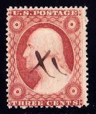 "#26A - 3 Cents 1857, 52R11i, Brownish Carminie, Recut, small ""x"" ms. ccl."