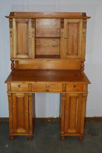 Kleiner Weichholz-Schreibtisch mit Aufsatz, Jugendstil, Lieferung möglich