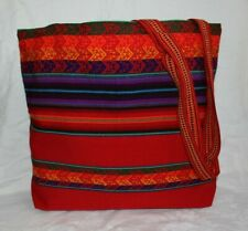 PERUVIAN HANDMADE SHOULDER BAG TOTE LARGE  HOBO MANTA WITH WOODEN DETAILS RED