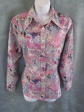 Vintage 70's Abstract Floral Blouse Size Medium
