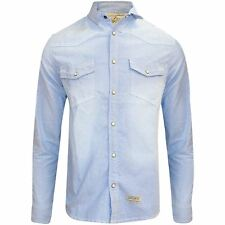 Mens Denim Shirt Long Sleeve Chest Pocket Fade Wash Cotton Snap Button
