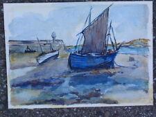 Bosquejo Vintage Barco velero en el litoral original pintura de acuarela en tarjeta