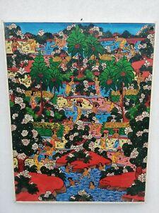 Bali Indonésie Sayan Ubud Huile sur Toile 90x70 CM 1980s Balinese Painting