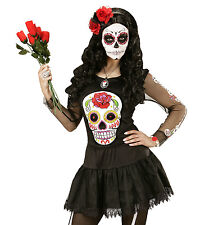 DAY OF THE DEAD MEXICAN FEMALE TOP T SHIRT FANCY DRESS HALLOWEEN WOMAN'S