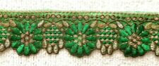 GREEN & GOLD EMBROIDERED ORGANZA TRIM/RIBBON - SOLD PER METRE - 6.5CM'S WIDE