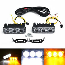 2*Car luz diurna 3-LED Blanco DRL Ámbar Luz Antiniebla señal de vuelta para 12V
