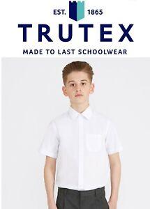 Trutex 2PK Boys Short Sleeve School Shirt Easy Care Non Iron Ages 11-18Y