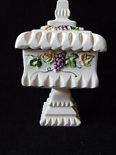 Vintage Tilso White Hand Painted Square Pedestal Candy Dish w/Lid