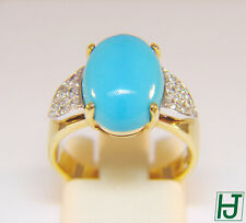Brand New Turquoise & Diamond Ring in 18k 2-tone Gold, Size 6