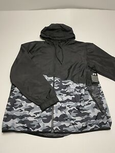 Russell Windbreaker Jacket Black Grey Camo Medium NEW