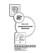 Hammarlund HQ-110 Operator & Service Manual