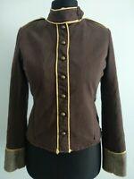 Ringspun Brown Military Jacket Size UK 10 Prince Charming Y2K Steampunk 90's