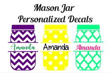 "Mason Jar Name Monogram Vinyl Decal 3"" Initials Sticker Yeti Sized any color"