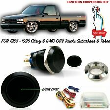 88-98 OBS Billet Aluminum Black Push Button Ignition Start Conversion Kit Chevy