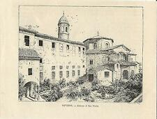Stampa antica RAVENNA veduta della Basilica di San Vitale Romagna 1892 Old print