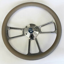 "Grey and Billet Steering Wheel Fits Ididit Column 14"" Running Pony Center Cap"