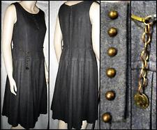 True 60s Charcoal Gray Wool Dropped Waist Dress w/Repairs Coin Belt Brass M VGC