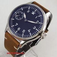 44mm Corgeut black sterile dial green luminous 6497 hand winding mens watch C39