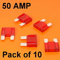 High Quality 10 x 50 Amp Maxi Blade Fuse Red 50A Car Van Bike Large Fuses