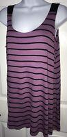 LOGO Lori Goldstein Soft Stretch Scoop Neck Stripe Tunic Tank Top SMALL Purple