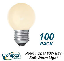 100 Pack x 60W Pearl / Opal Fancy Round Light Globes / Bulbs Screw Cap E27