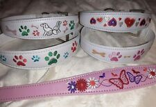 Embriodered Dog Collar Hearts Butterflies paws Fashion pink white Small / Medium