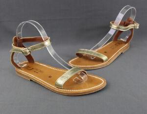 K. Jacques Women's Gold Leather Ankle Strap Flat Sandal Shoe Size 38 8