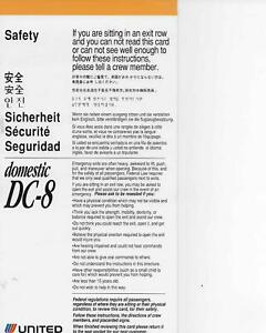 United Air Lines DC-8  Domestic Safety Card NOS