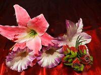 lot fleurs tissus les roses et le lys et liserons   pour créations diverses