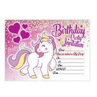 20 x Unicorn Girl Birthday Invitations | Kids Girl Children's Party Invites
