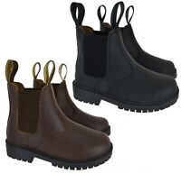 NEW KIDS BOYS GIRLS DEALER CHELSEA SCHOOL ANKLE PULL UP LEATHER BOOTS SHOES SIZE