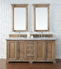 "72"" James Martin Providence Driftwood Double Bathroom Vanity + 4CM White Marble"