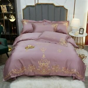 Luxury Retro Green 1000TC Egyptian Cotton Bedding Set Soft Silky Gold Embroidery