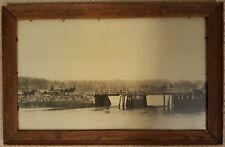 Antique Photo Framed River Bridge Landscape Scene Horses Wagons People 20 x 12
