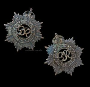 Pair of WW2 RASC Royal Army Service Officer's Bronze Collar Badges