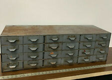Vintage Antique Industrial Metal 24 Drawer Storage Parts Bin Cabinet 34